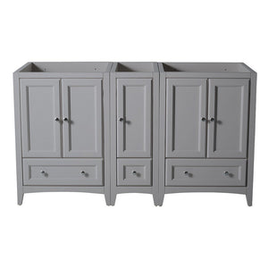 "Fresca Oxford 60"" Traditional Double Sink Bathroom Cabinets Only Fresca 60 inch Double Vanity Gray"