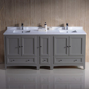 "Fresca Oxford 72"" Traditional Double Sink Bathroom Cabinets with Top & Sinks Fresca 72 inch and larger Double Vanity"