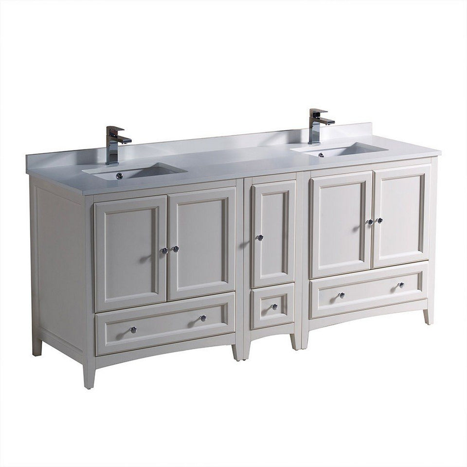 "Fresca Oxford 72"" Traditional Double Sink Bathroom Cabinets with Top & Sinks Fresca 72 inch and larger Double Vanity Antique White"