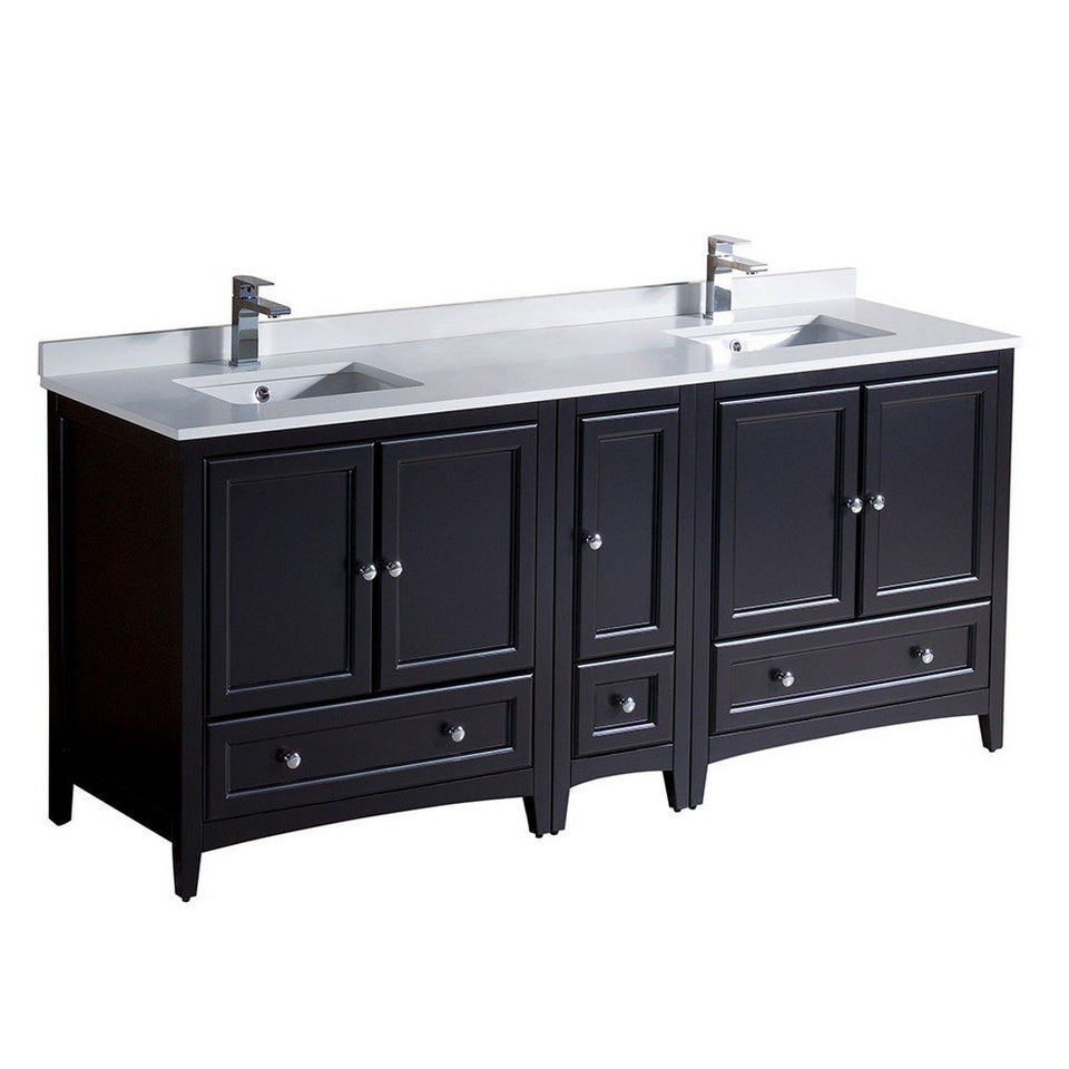 "Fresca Oxford 72"" Traditional Double Sink Bathroom Cabinets with Top & Sinks Fresca 72 inch and larger Double Vanity Espresso"