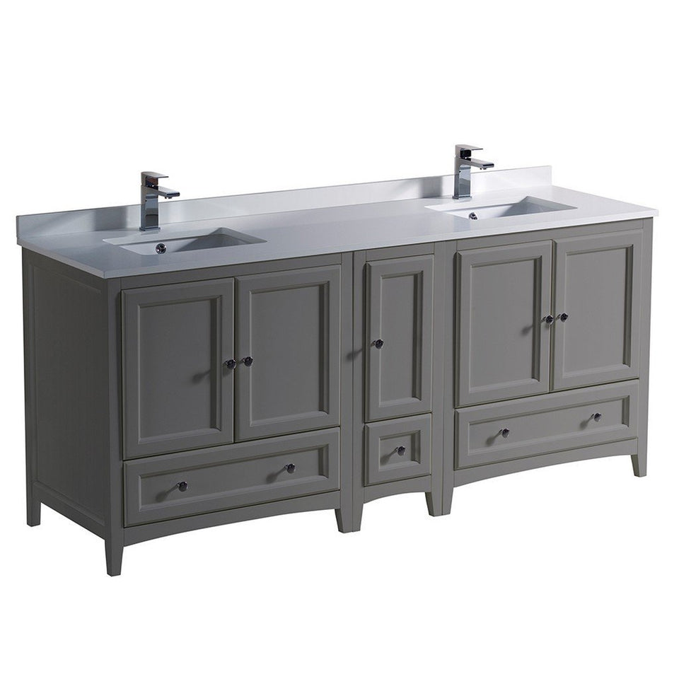 "Fresca Oxford 72"" Traditional Double Sink Bathroom Cabinets with Top & Sinks Fresca 72 inch and larger Double Vanity Gray"