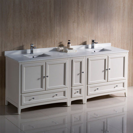 "Fresca Oxford 84"" Traditional Double Sink Bathroom Cabinets with Top & Sinks Fresca 72 inch and larger Double Vanity"