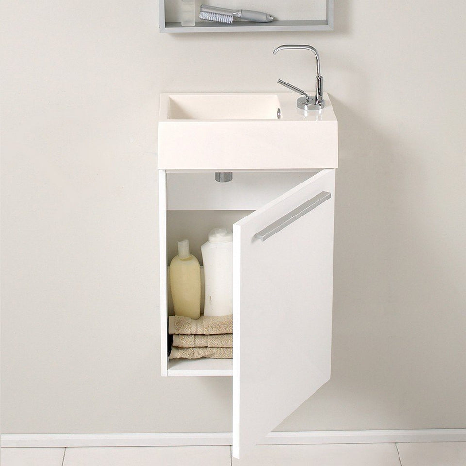 "Fresca Pulito 16"" Modern Bathroom Vanity with Integrated Sink Fresca 16 inch Single Vanity"
