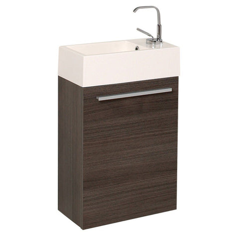 "Fresca Pulito 16"" Modern Bathroom Vanity with Integrated Sink Fresca 16 inch Single Vanity Gray Oak"