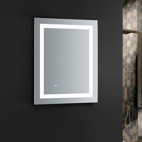 "Fresca Santo 24"" Wide x 30"" Tall Bathroom Mirror with LED Lighting and Defogger Fresca Mirrors Glass"