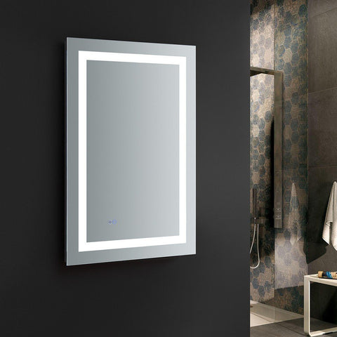 "Fresca Santo 24"" Wide x 36"" Tall Bathroom Mirror with LED Lighting and Defogger Fresca Mirrors Glass"