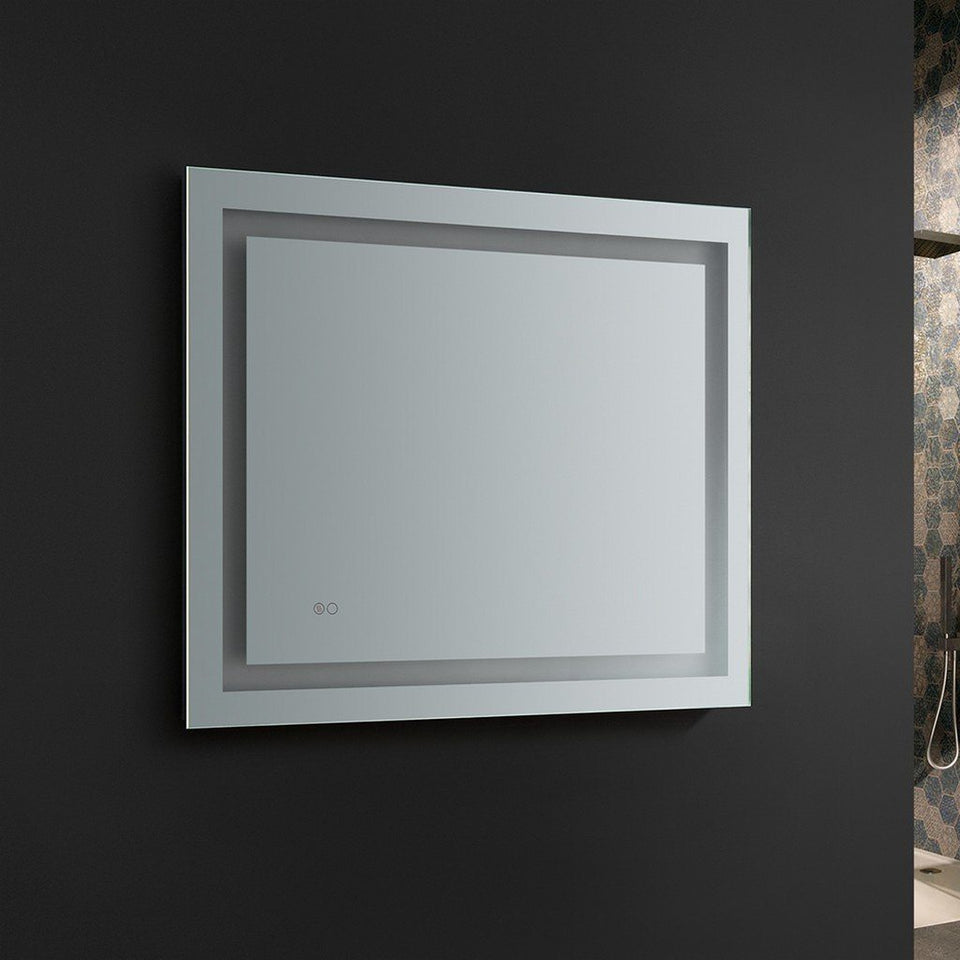 "Fresca Santo 36"" Wide x 30"" Tall Bathroom Mirror with LED Lighting and Defogger Fresca Mirrors"
