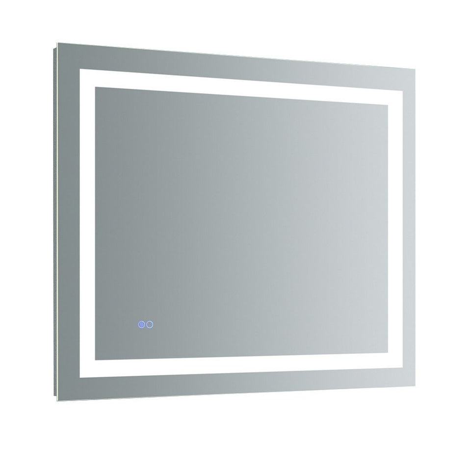 "Fresca Santo 36"" Wide x 30"" Tall Bathroom Mirror with LED Lighting and Defogger Fresca Mirrors Glass"
