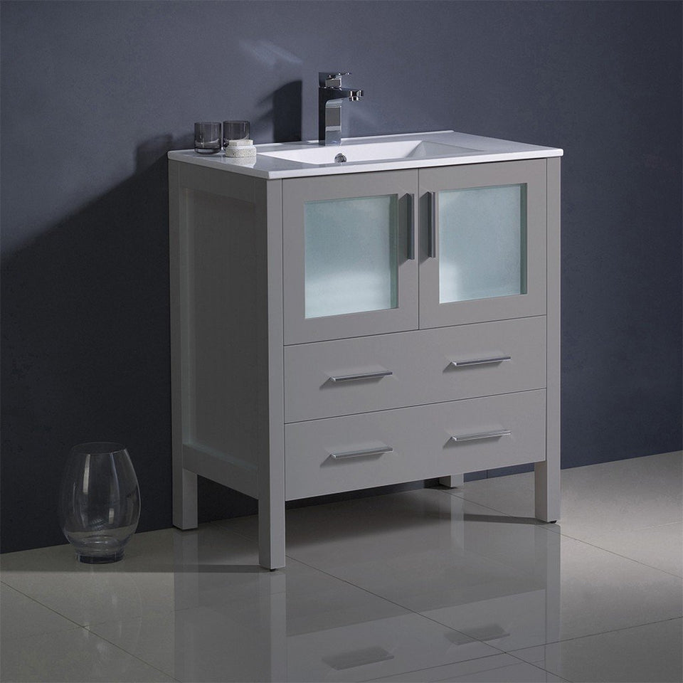 "Fresca Torino 30"" Modern Bathroom Cabinet with Integrated Sink Fresca 30 inch Single Vanity"