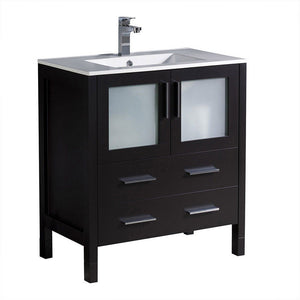 "Fresca Torino 30"" Modern Bathroom Cabinet with Integrated Sink Fresca 30 inch Single Vanity Espresso"