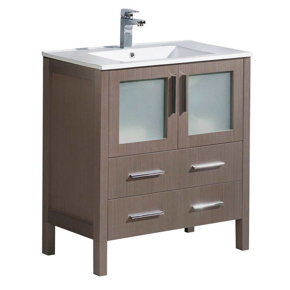 "Fresca Torino 30"" Modern Bathroom Cabinet with Integrated Sink Fresca 30 inch Single Vanity Gray Oak"