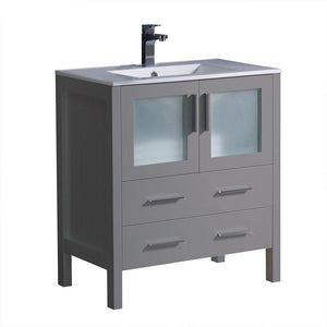 "Fresca Torino 30"" Modern Bathroom Cabinet with Integrated Sink Fresca 30 inch Single Vanity Gray"