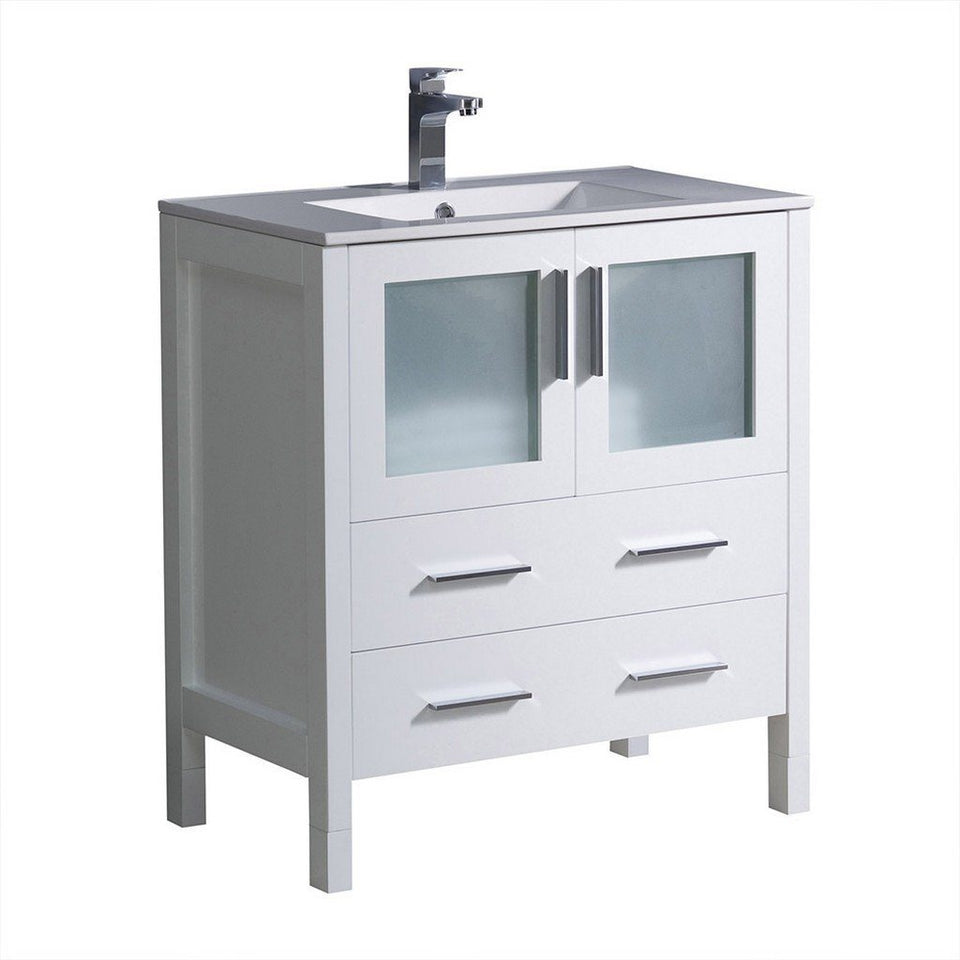 "Fresca Torino 30"" Modern Bathroom Cabinet with Integrated Sink Fresca 30 inch Single Vanity White"