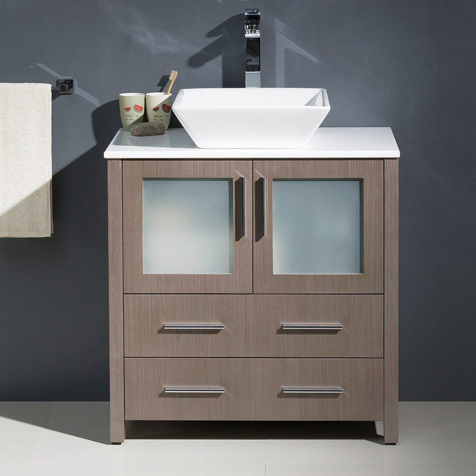 "Fresca Torino 30"" Modern Bathroom Cabinet with Top & Vessel Sink Fresca 30 inch Single Vanity"