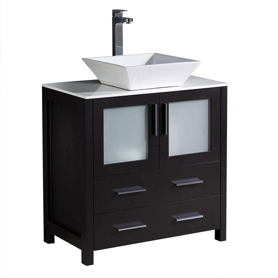 "Fresca Torino 30"" Modern Bathroom Cabinet with Top & Vessel Sink Fresca 30 inch Single Vanity Espresso"