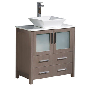 "Fresca Torino 30"" Modern Bathroom Cabinet with Top & Vessel Sink Fresca 30 inch Single Vanity Gray Oak"