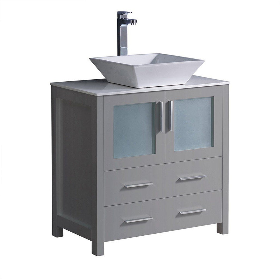 "Fresca Torino 30"" Modern Bathroom Cabinet with Top & Vessel Sink Fresca 30 inch Single Vanity Gray"