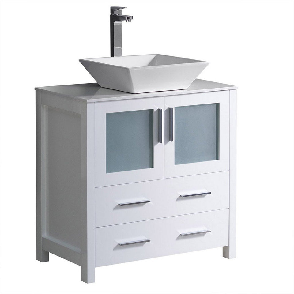 "Fresca Torino 30"" Modern Bathroom Cabinet with Top & Vessel Sink Fresca 30 inch Single Vanity White"