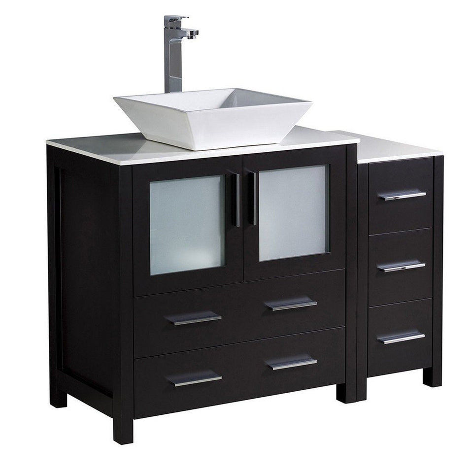 "Fresca Torino 42"" Modern Bathroom Cabinets with Top & Vessel Sink Fresca 42 inch Single Vanity Espresso"