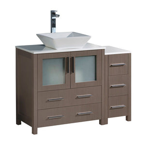 "Fresca Torino 42"" Modern Bathroom Cabinets with Top & Vessel Sink Fresca 42 inch Single Vanity Gray Oak"