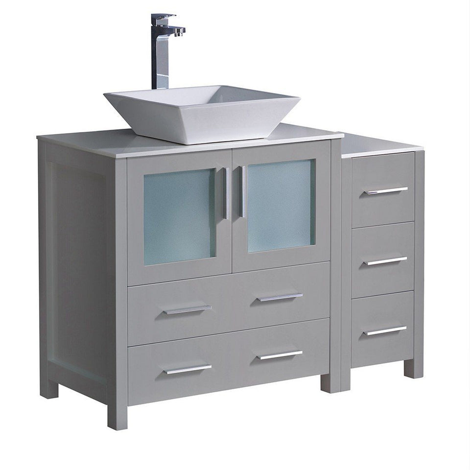 "Fresca Torino 42"" Modern Bathroom Cabinets with Top & Vessel Sink Fresca 42 inch Single Vanity Gray"
