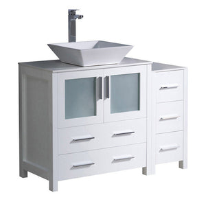 "Fresca Torino 42"" Modern Bathroom Cabinets with Top & Vessel Sink Fresca 42 inch Single Vanity White"