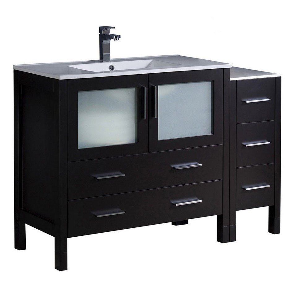 "Fresca Torino 48"" Modern Bathroom Cabinets with Integrated Sink Fresca 48 inch Single Vanity Espresso"