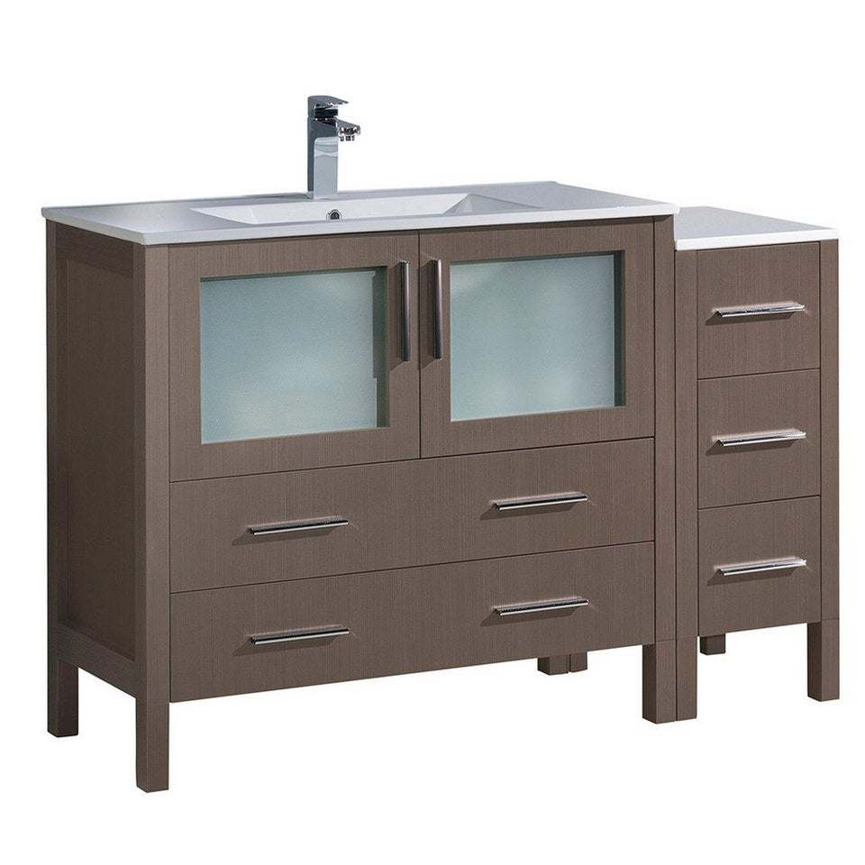 "Fresca Torino 48"" Modern Bathroom Cabinets with Integrated Sink Fresca 48 inch Single Vanity Gray Oak"