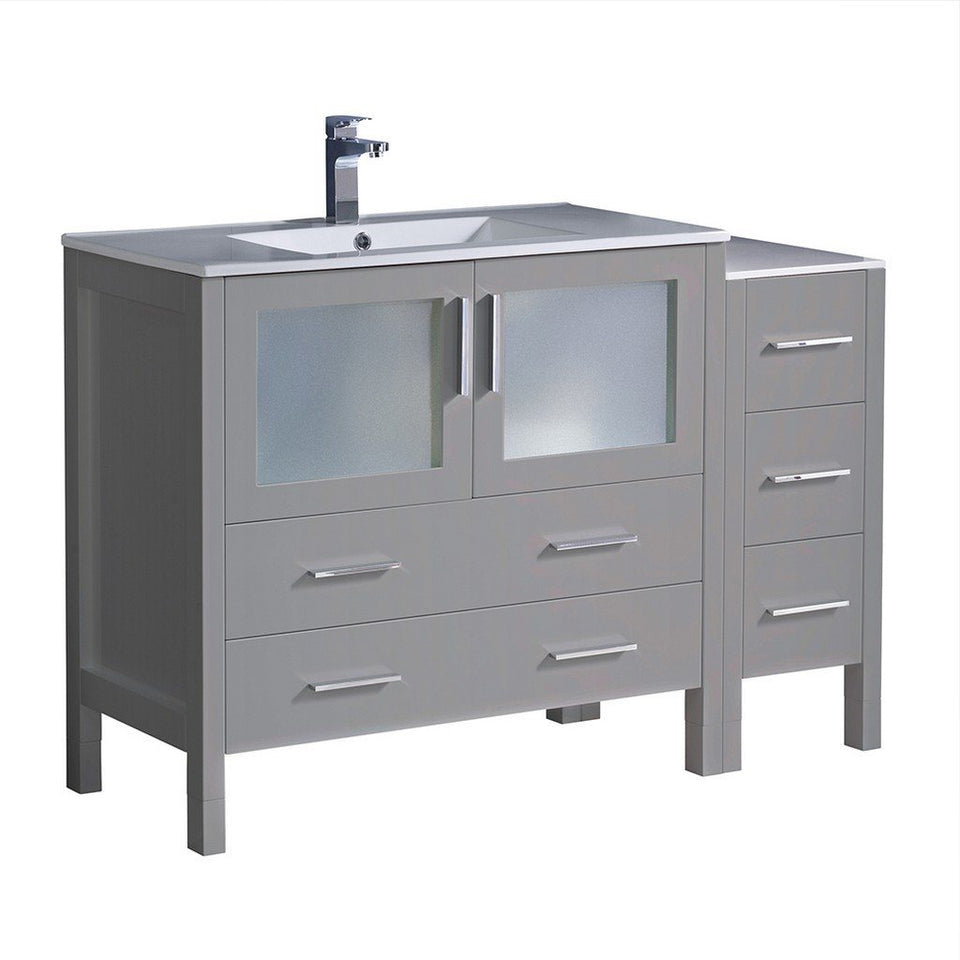 "Fresca Torino 48"" Modern Bathroom Cabinets with Integrated Sink Fresca 48 inch Single Vanity Gray"