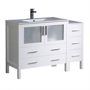 "Fresca Torino 48"" Modern Bathroom Cabinets with Integrated Sink Fresca 48 inch Single Vanity White"