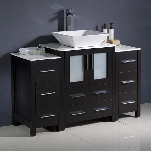 "Fresca Torino 48"" Modern Bathroom Cabinets with Top & Vessel Sink Fresca 48 inch Single Vanity Espresso"
