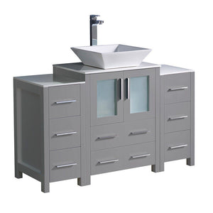 "Fresca Torino 48"" Modern Bathroom Cabinets with Top & Vessel Sink Fresca 48 inch Single Vanity Gray"