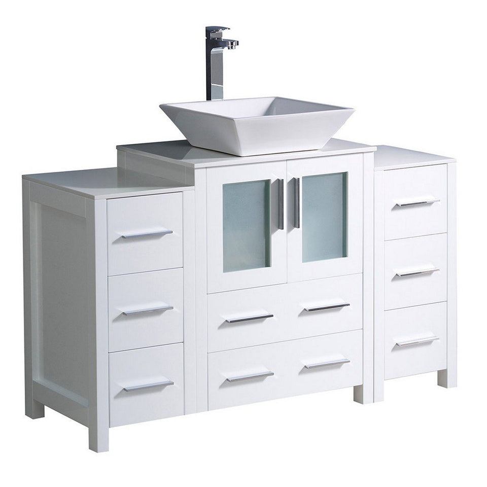 "Fresca Torino 48"" Modern Bathroom Cabinets with Top & Vessel Sink Fresca 48 inch Single Vanity White"