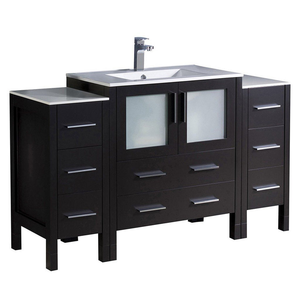 "Fresca Torino 54"" Modern Bathroom Cabinets with Integrated Sink Fresca 54 inch Single Vanity Espresso"