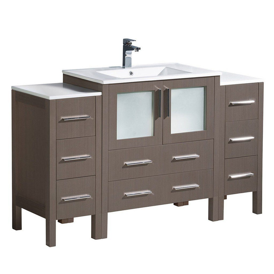 "Fresca Torino 54"" Modern Bathroom Cabinets with Integrated Sink Fresca 54 inch Single Vanity Gray Oak"