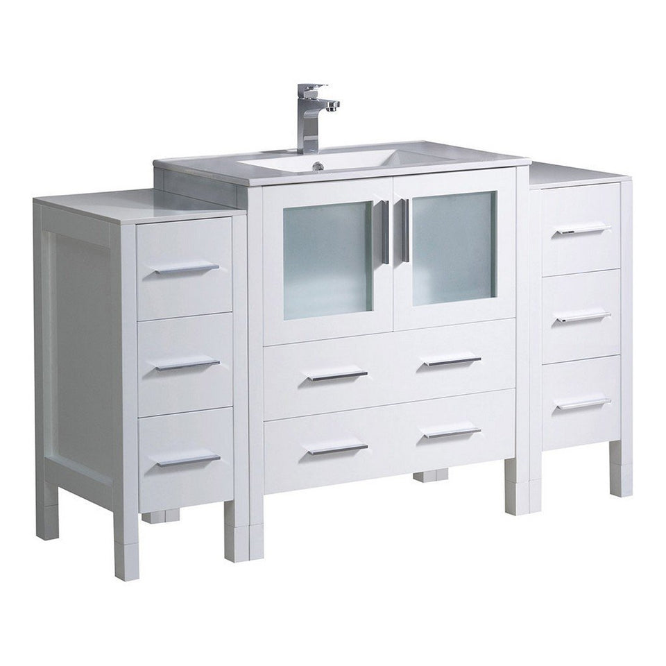 "Fresca Torino 54"" Modern Bathroom Cabinets with Integrated Sink Fresca 54 inch Single Vanity White"