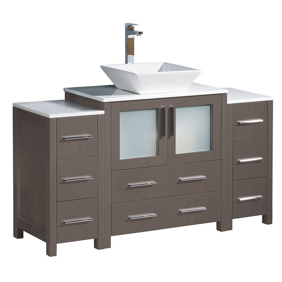 "Fresca Torino 54"" Modern Bathroom Cabinets with Top & Vessel Sink Fresca 54 inch Single Vanity Gray Oak"