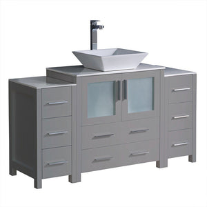 "Fresca Torino 54"" Modern Bathroom Cabinets with Top & Vessel Sink Fresca 54 inch Single Vanity Gray"
