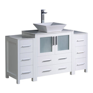 "Fresca Torino 54"" Modern Bathroom Cabinets with Top & Vessel Sink Fresca 54 inch Single Vanity White"