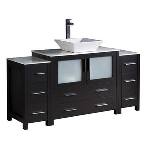 "Fresca Torino 60"" Modern Bathroom Cabinets with Top & Vessel Sink Fresca 60 inch Single Vanity Espresso"