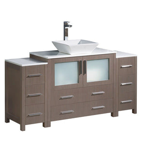 "Fresca Torino 60"" Modern Bathroom Cabinets with Top & Vessel Sink Fresca 60 inch Single Vanity Gray Oak"