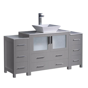 "Fresca Torino 60"" Modern Bathroom Cabinets with Top & Vessel Sink Fresca 60 inch Single Vanity Gray"