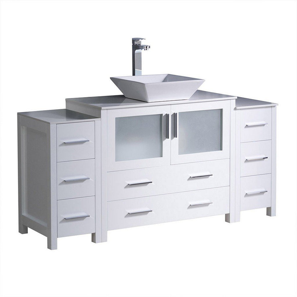 "Fresca Torino 60"" Modern Bathroom Cabinets with Top & Vessel Sink Fresca 60 inch Single Vanity White"