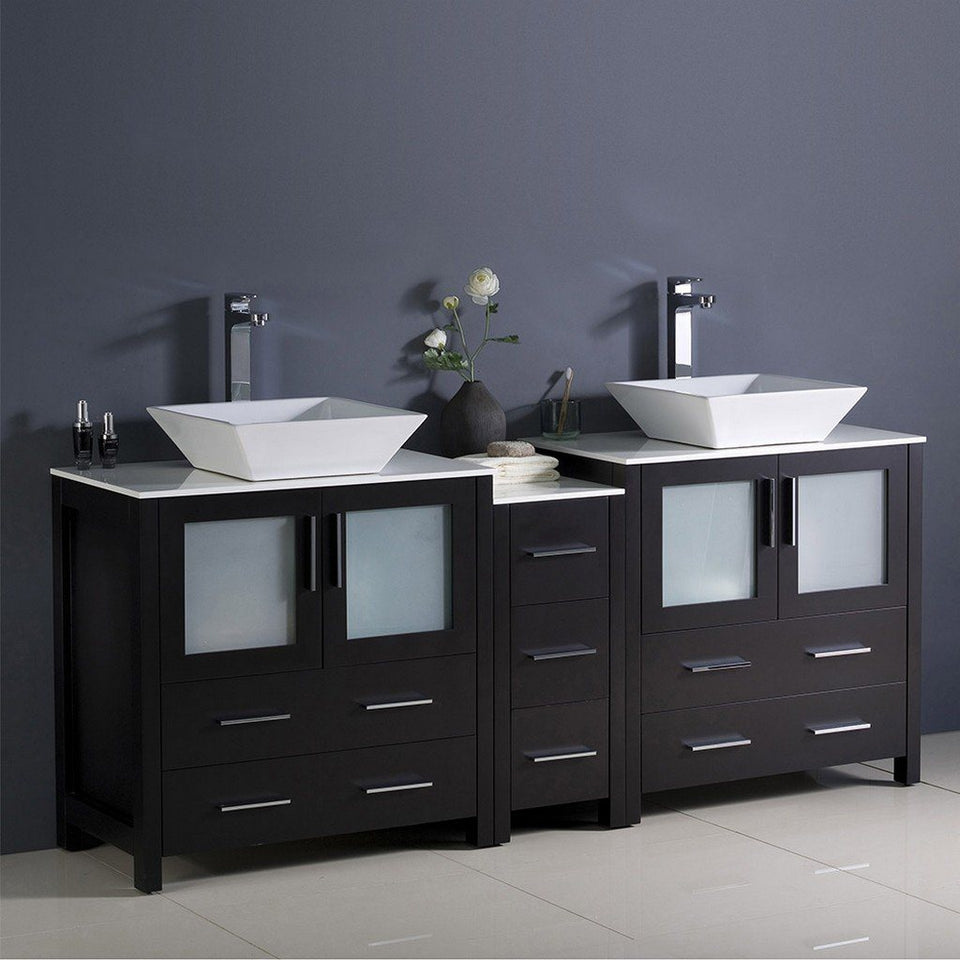 "Fresca Torino 72"" Modern Double Sink Bathroom Cabinets with Tops & Vessel Sinks Fresca 72 inch and larger Double Vanity"