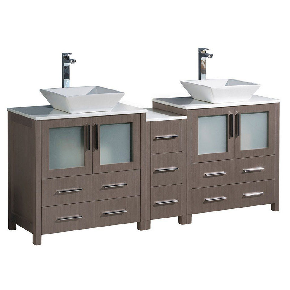"Fresca Torino 72"" Modern Double Sink Bathroom Cabinets with Tops & Vessel Sinks Fresca 72 inch and larger Double Vanity Gray Oak"