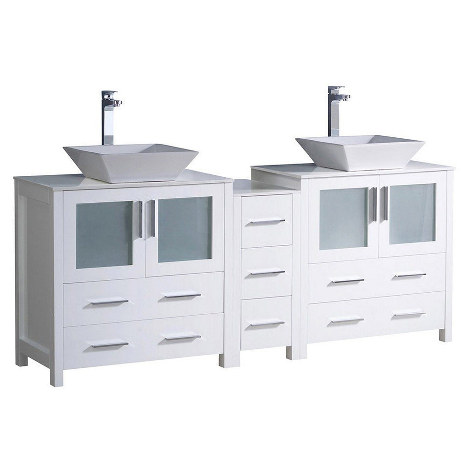 "Fresca Torino 72"" Modern Double Sink Bathroom Cabinets with Tops & Vessel Sinks Fresca 72 inch and larger Double Vanity White"