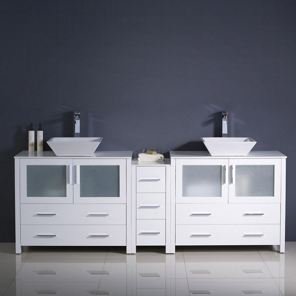 "Fresca Torino 84"" Modern Double Sink Bathroom Cabinets with Tops & Vessel Sinks Fresca 72 inch and larger Double Vanity"