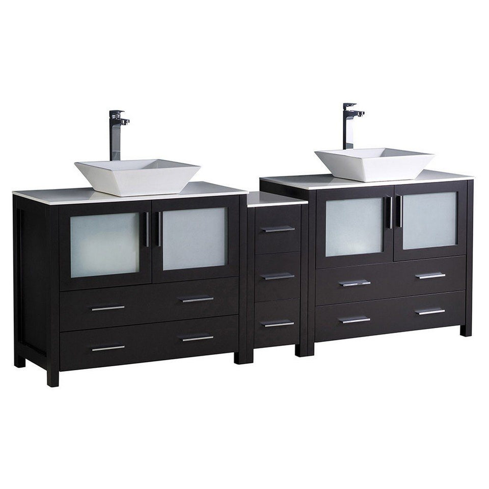 "Fresca Torino 84"" Modern Double Sink Bathroom Cabinets with Tops & Vessel Sinks Fresca 72 inch and larger Double Vanity Espresso"