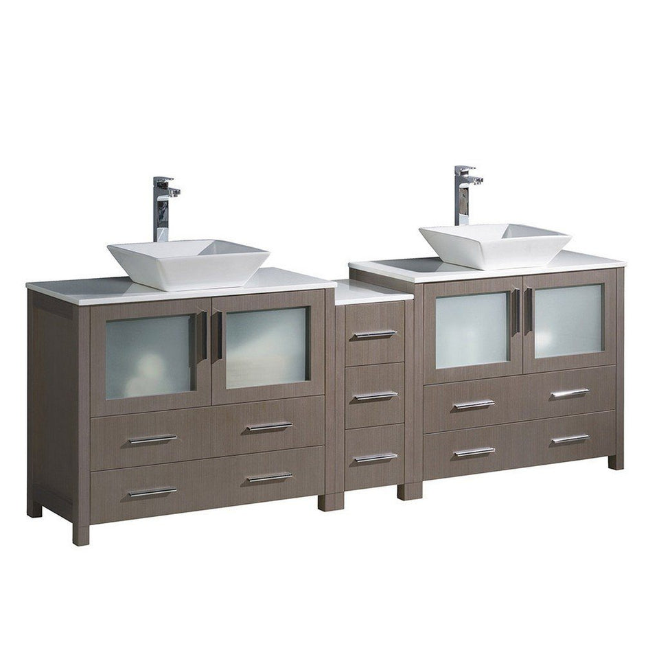 "Fresca Torino 84"" Modern Double Sink Bathroom Cabinets with Tops & Vessel Sinks Fresca 72 inch and larger Double Vanity Gray Oak"