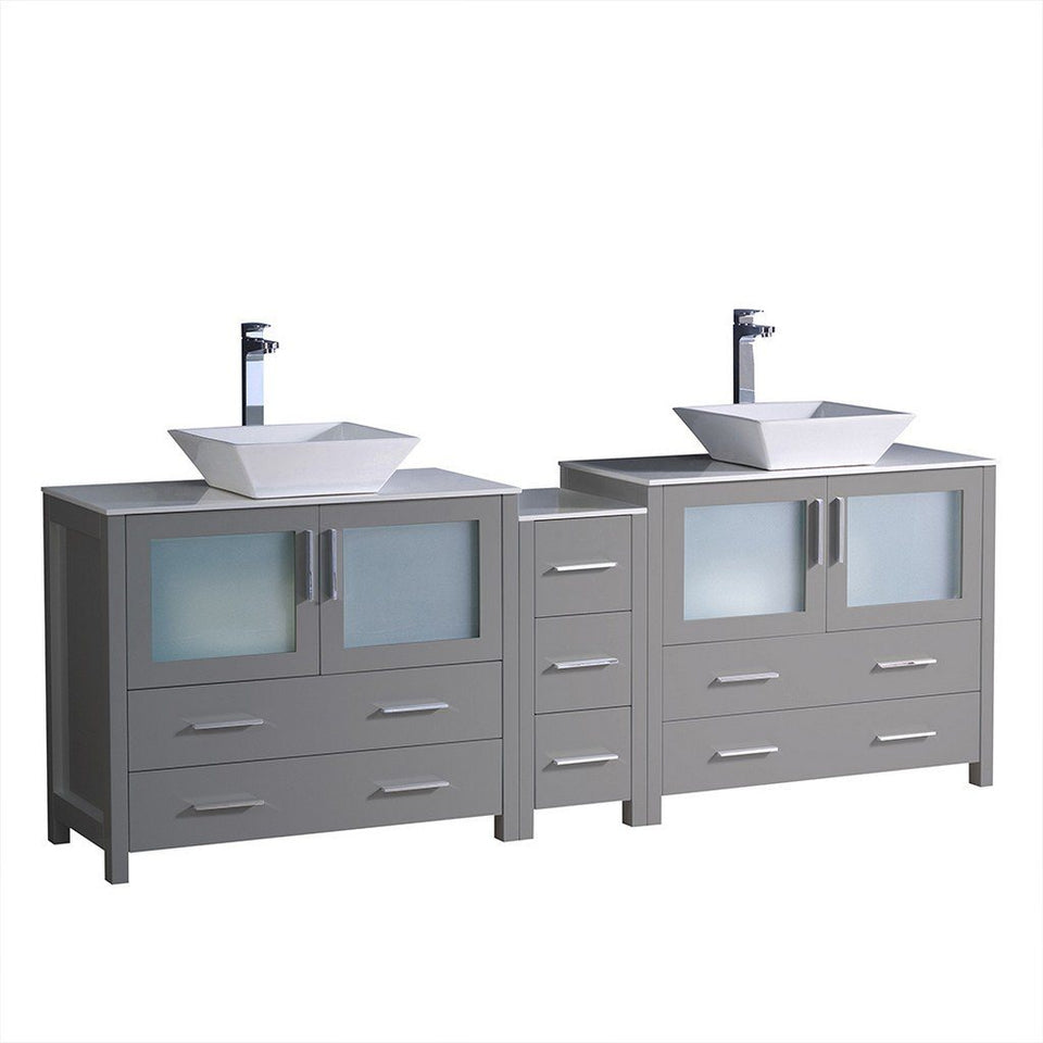 "Fresca Torino 84"" Modern Double Sink Bathroom Cabinets with Tops & Vessel Sinks Fresca 72 inch and larger Double Vanity Gray"
